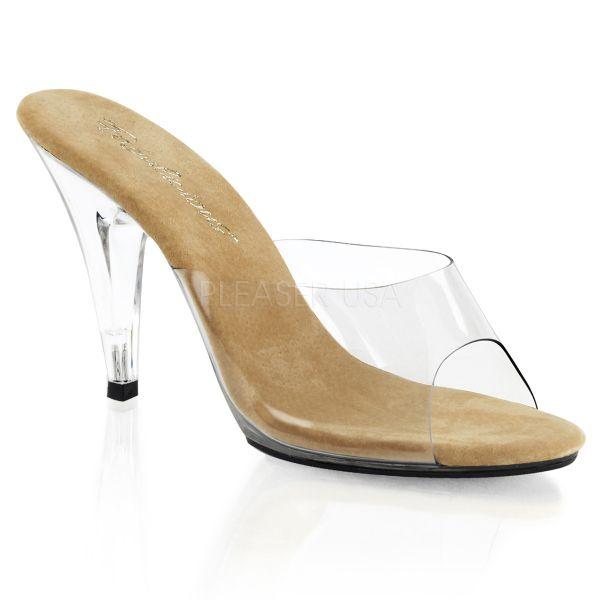 CARESS-401     Durchsichtige High-Heel Pantolette mit beigefarbener Lederinnensohle